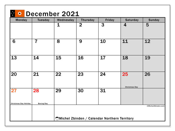 December 2021 Calendar, with the holidays of Northern Territory. Free printable calendar with public holidays.