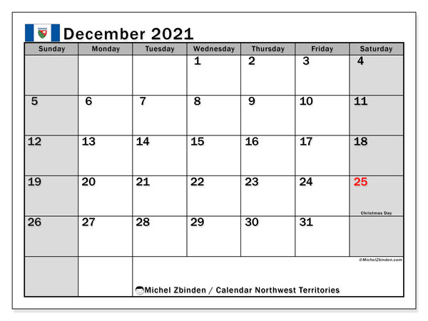 December 2021 Calendar, with the holidays of Northwest Territories. Free printable calendar with public holidays.