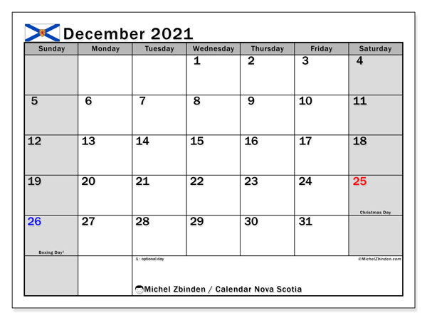 "Printable ""Nova Scotia"" calendar with public holidays. Monthly December 2021 calendar and free bullet journal to print."