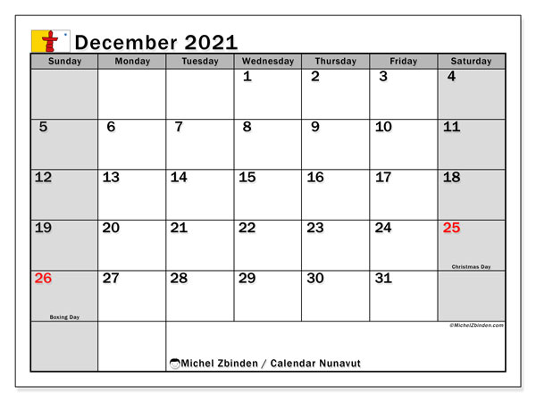 December 2021 Calendar, with the holidays of Nunavut. Holidays calendar to print free.