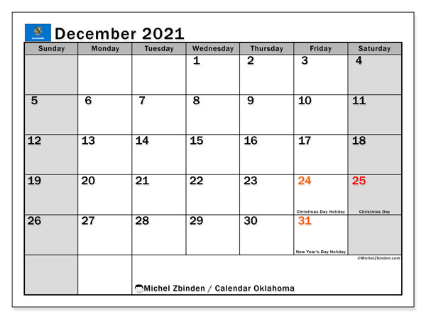 December 2021 Calendar, with the holidays of Oklahoma. Free printable calendar with public holidays.