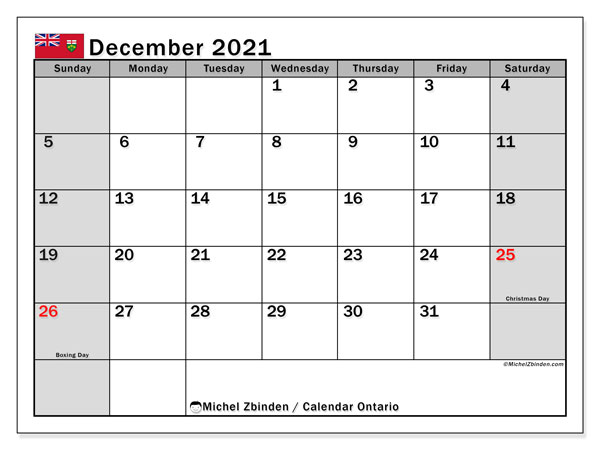 December 2021 Calendar, with the holidays of Ontario. Free printable calendar with public holidays.