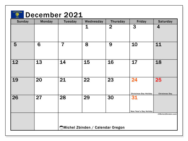 "Printable ""Oregon"" calendar with public holidays. Monthly December 2021 calendar and free printable bullet journal."