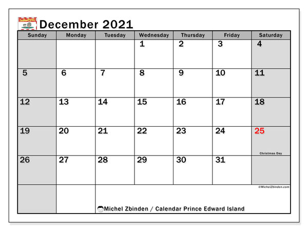Calendar December 2021 - Prince Edward Island. Public Holidays. Monthly Calendar and free bullet journal to print.