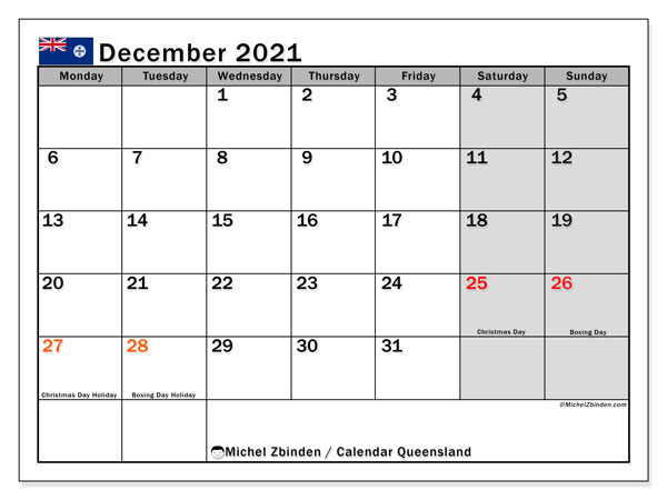 December 2021 Calendar, with the holidays of Queensland. Holidays calendar to print free.