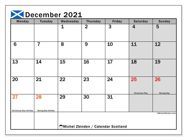 December 2021 Calendar, with the holidays of Scotland. Free printable calendar with public holidays.