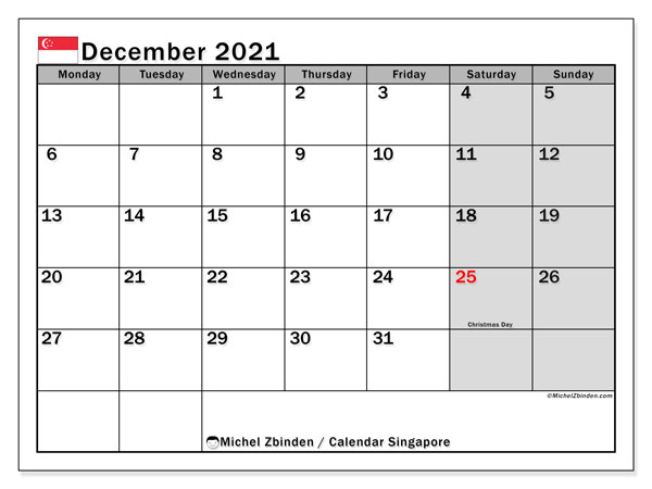 December 2021 Calendar, with the holidays of Singapore. Holidays calendar to print free.