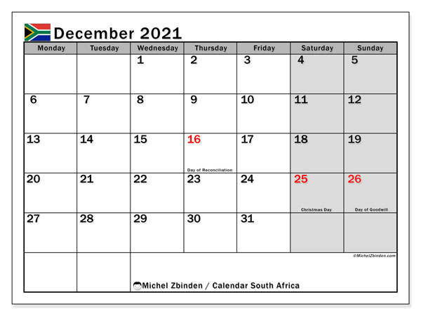 December 2021 Calendar, with the holidays of South Africa. Holidays calendar to print free.