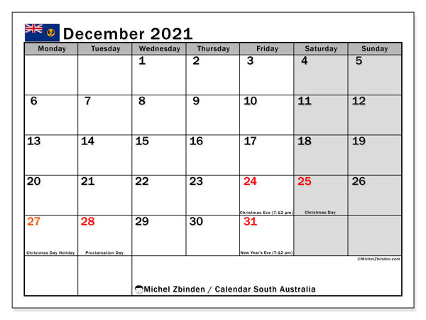 December 2021 Calendar, with the holidays of South Australia. Holidays calendar to print free.