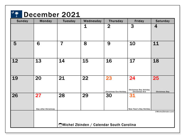 "Printable ""South Carolina"" calendar with public holidays. Monthly December 2021 calendar and free printable bullet journal."