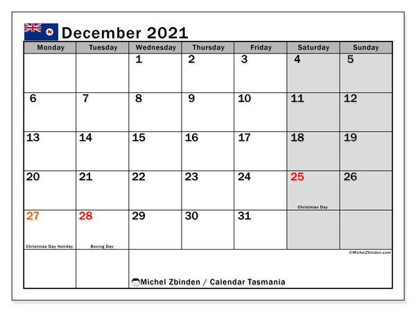 December 2021 Calendar, with the holidays of Tasmania. Free printable calendar with public holidays.