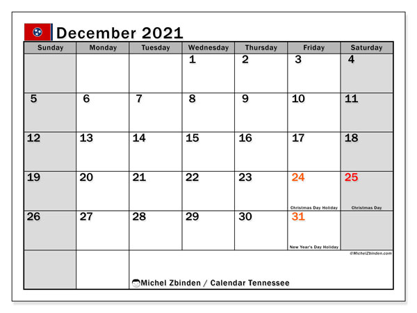 December 2021 Calendar, with the holidays of Tennessee. Free printable calendar with public holidays.