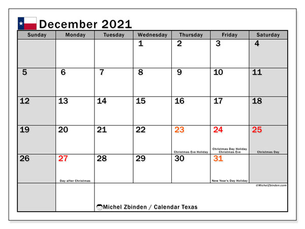 Calendar December 2021 - Texas. Public Holidays. Monthly Calendar and planner to print free.