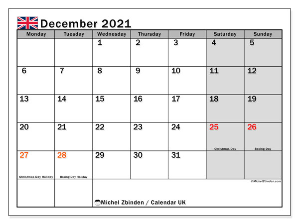 "2021 Calendar Uk Printable December 2021 ""UK"" Calendar   Michel Zbinden EN"