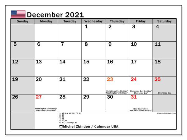"""2021 Calendar With Holidays Usa Printable December 2021 """"USA"""" Calendar   Michel Zbinden EN"""