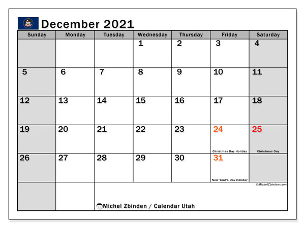 December 2021 Calendar, with the holidays of Utah. Holidays calendar to print free.