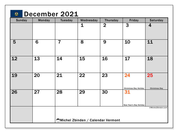 Calendar December 2021 - Vermont. Public Holidays. Monthly Calendar and timetable to print free.