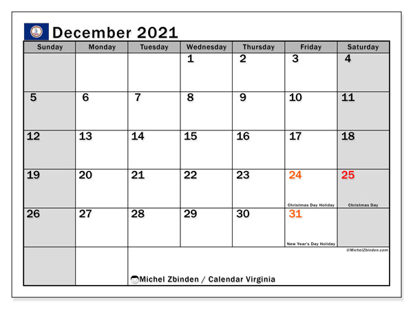 Calendar December 2021 - Virginia. Public Holidays. Monthly Calendar and free printable timetable.