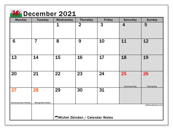 December 2021 Calendar, with the holidays of Wales. Holidays calendar to print free.