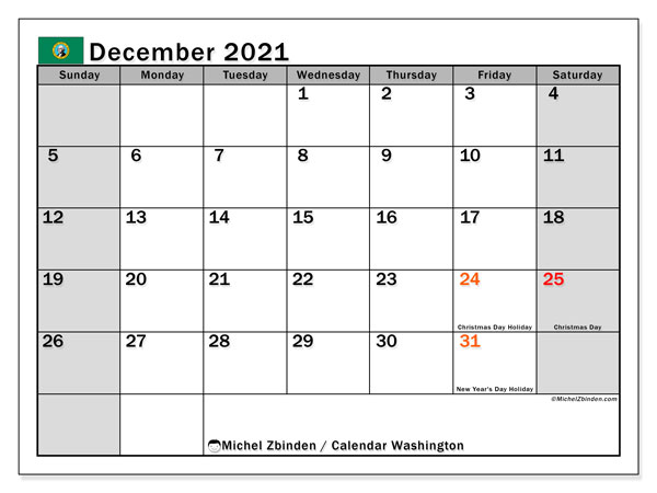 Calendar December 2021 - Washington. Public Holidays. Monthly Calendar and schedule to print free.