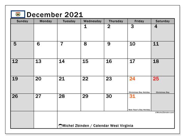December 2021 Calendar, with the holidays of West Virginia. Holidays calendar to print free.