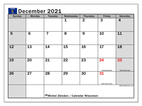 December 2021 Calendar, with the holidays of Wisconsin. Free printable calendar with public holidays.