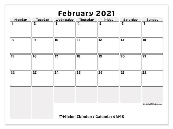 February 2021 Calendar, 44MS. Calendar to print free.