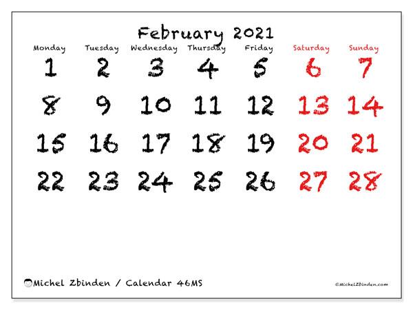 February 2021 Calendar, 46MS. Planner to print free.
