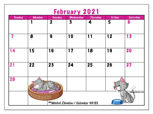 Printable February 2021 481ss Calendar Michel Zbinden En