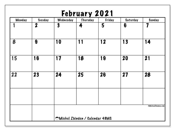 February 2021 Calendar, 48MS. Bullet journal to print free.