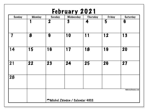 "Calendar February 2021 Printable February 2021 ""48SS"" Calendar   Michel Zbinden EN"