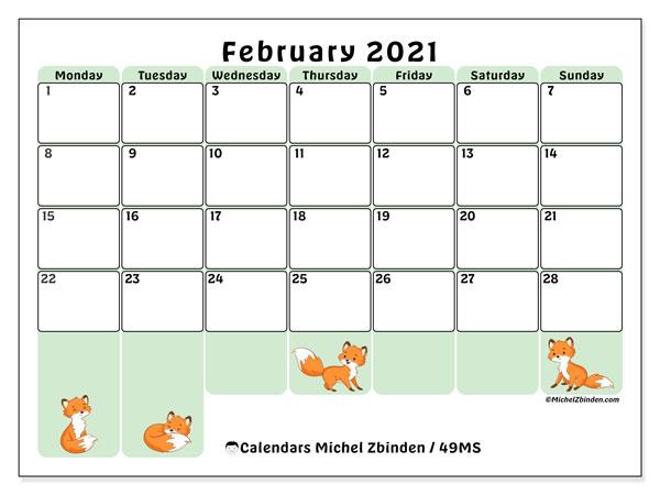 February 2021 Calendar, 49MS. Free printable bullet journal.