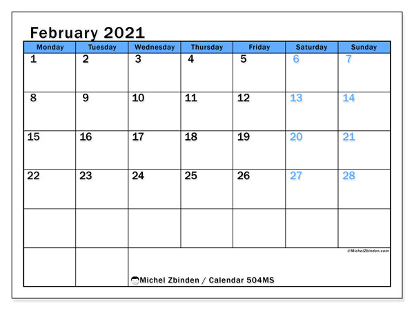 Printable 2021 calendars, Monday - Sunday