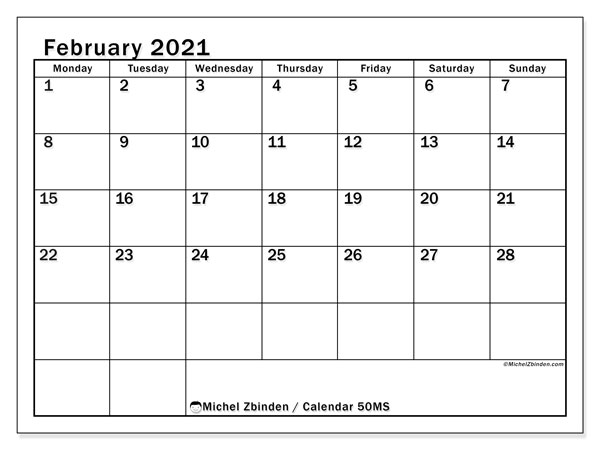 Printable calendars, February 2021, Monday - Sunday