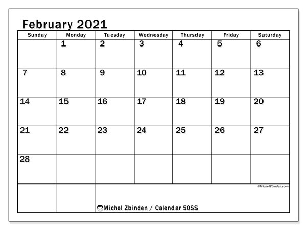 February 2021 Calendar, 50SS. Calendar for the month to print free.