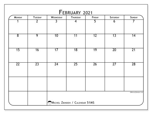 February 2021 Calendar, 51MS. Free planner to print.