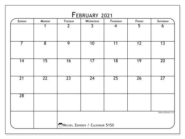 Calendar February 2021 - 51SS. Popular. Monthly Calendar and free schedule to print.