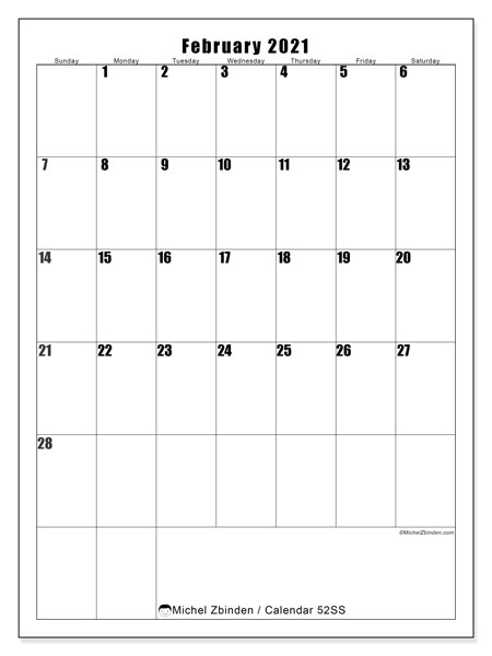February 2021 Calendar, 52SS. Monthly planner to print free.
