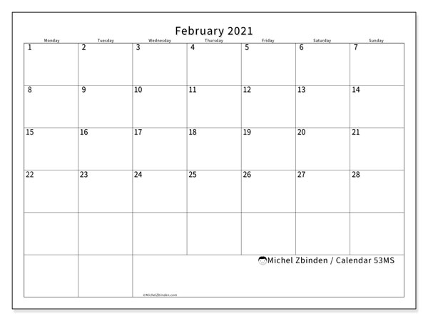 February 2021 Calendar, 53MS. Free planner to print.