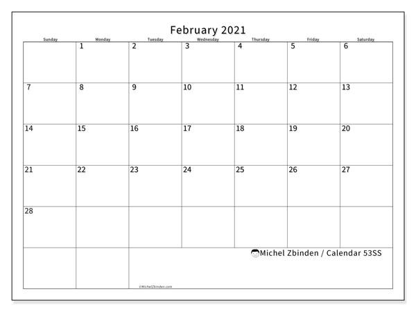February 2021 Calendar, 53SS. Calendar to print free.