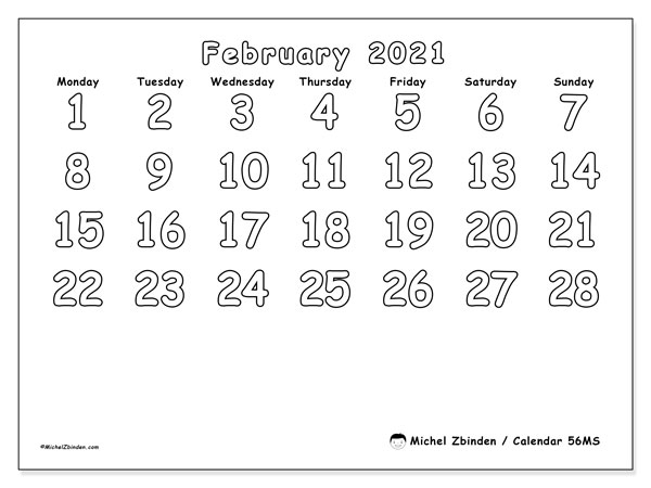 February 2021 Calendar, 56MS. Bullet journal to print free.