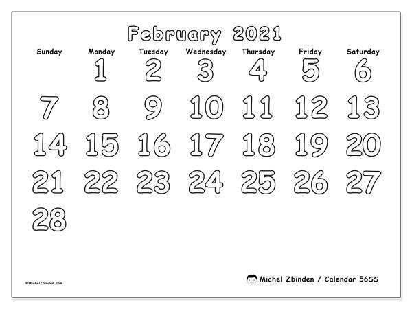 February 2021 Calendar, 56SS. Free printable planner.