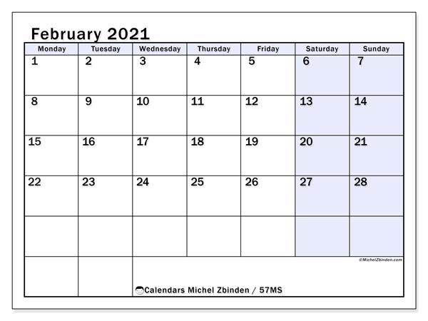 February 2021 Calendar, 57MS. Free printable calendar.