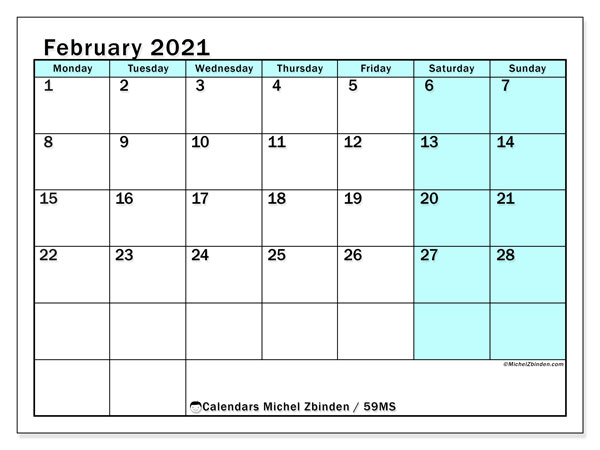 February 2021 Calendar, 59MS. Free bullet journal to print.