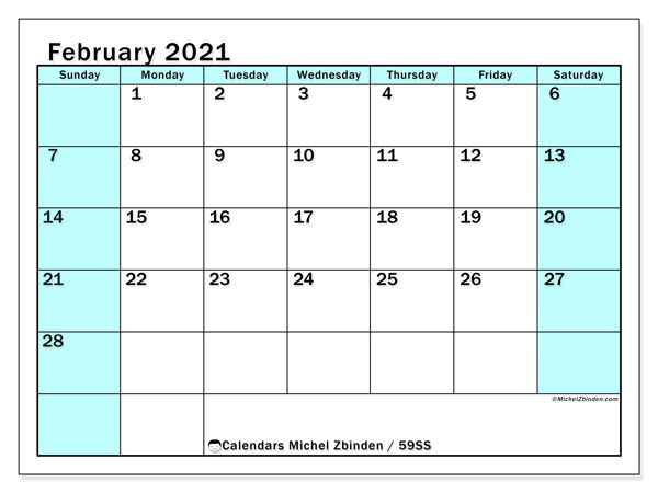 Calendar February 2021 - 59SS. South Turquoise. Monthly Calendar and free planner to print.