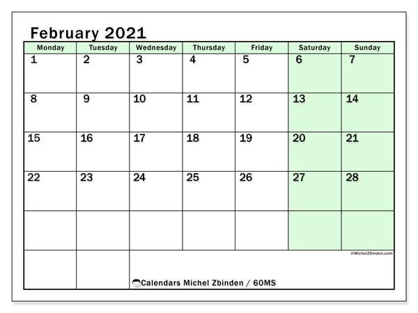 February 2021 Calendar, 60MS. Free planner to print.