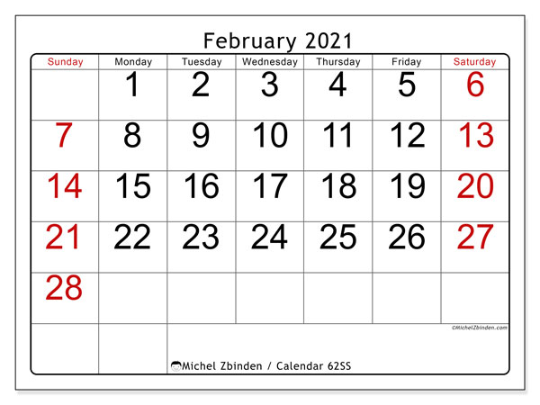 February 2021 Calendar, 62SS. Planner to print free.