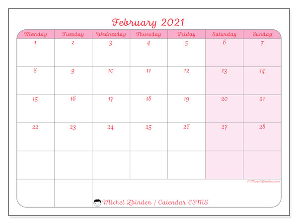 February 2021 Calendar, 63MS. Monthly planner to print free.