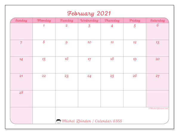 Calendar February 2021 - 63SS. Feminine. Monthly Calendar and free schedule to print.