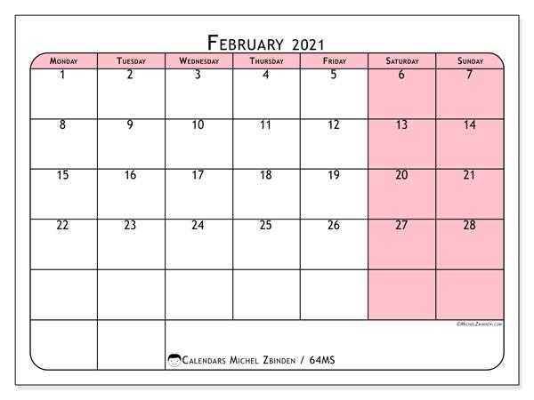 February 2021 Calendar, 64MS. Calendar for the month to print free.